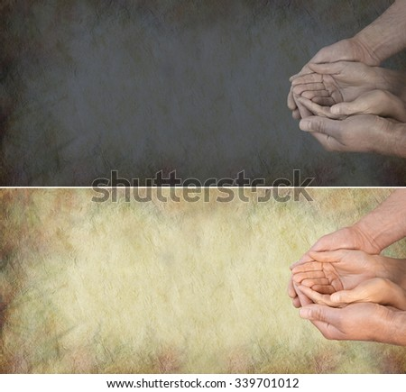 Bring light into peoples lives - one light and one dark banner with a woman's hands gently cupped within a man's hands in a needy position on a grunge stone effect background and plenty of copy space - stock photo