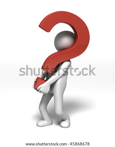Bringing the Questions - (3D character carrying a big question mark) - stock photo