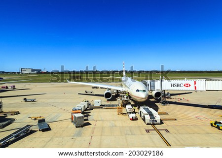 BRISBANE  APRIL 19: Brisbane International Airport become one of the most visited airport in Australia for the many great attractions Queensland can offer. Australia 2014   - stock photo