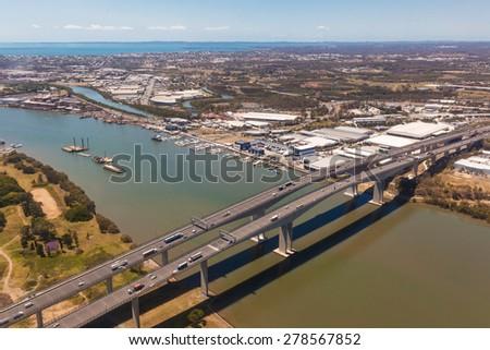 BRISBANE, AUS - OCT 23 2014: Sir Leo Hielscher Bridges on Gateway motorway. It is a pair of road bridges in the eastern suburbs of Brisbane. - stock photo