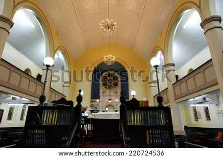 BRISBANE,AUS - SEP 24 2014:Brisbane Synagogue interior.Brisbane Synagogue founded in 1886 and is the oldest in the state of Queensland, Australia.The synagogue has always operated primarily in English