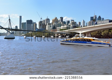 BRISBANE, AUS - SEP 24 2014:CityCat Ferry in  Brisbane. Brisbane City Council operates a fleet of 19 CityCats and nine monohull CityFerries (including CityHoppers) along a network of 24 terminals  - stock photo