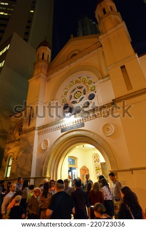 BRISBANE, AUS - SEP 24 2014:Jewish people at Brisbane Synagogue .Brisbane Synagogue founded in 1886 and is the oldest in the state of Queensland, Australia. - stock photo