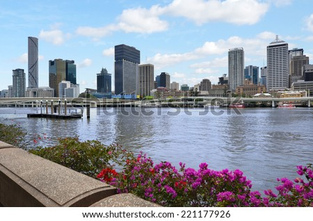 BRISBANE, AUS - SEP 24 2014: Skyscrapers Skyline. Until the 1970s the City Hall's 100-foot (30-meter) tower was the most prominent building, but it was later dwarfed by numerous commercial high rises. - stock photo