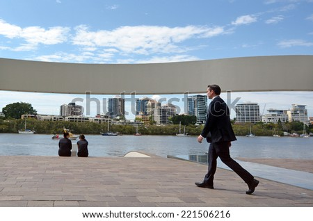 BRISBANE, AUS - SEP 25 2014:Visitors at Brisbane riverside walk.It's a popular network of riverwalk pavements along the banks of the Brisbane River.