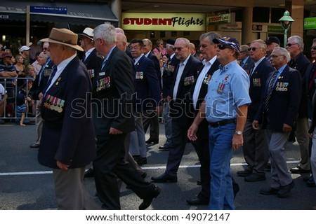 BRISBANE, AUSTRALIA - APRIL 25 :Various War Veterans Marching in Anzac Day March April 25, 2009 in Brisbane, Australia. - stock photo