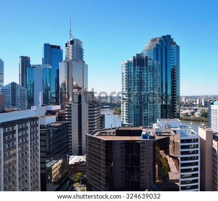 BRISBANE, AUSTRALIA -9 AUGUST 2014- The modern skyline of downtown Brisbane, the capital of Queensland in Australia.