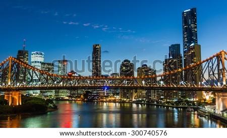 BRISBANE, AUSTRALIA Circa May 2014: The skyline of Brisbane at night - stock photo