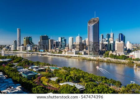 BRISBANE, AUSTRALIA - Dec 29 2016: Areal image of Brisbane CBD and South Bank. Brisbane is the capital of QLD and the third largest city in Australia