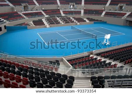 BRISBANE, AUSTRALIA – DECEMBER 16: The Queensland Tennis Centre in Brisbane, stadium venue for the WTA Brisbane International Tournament held each January. Image taken December 16, 2011 - stock photo