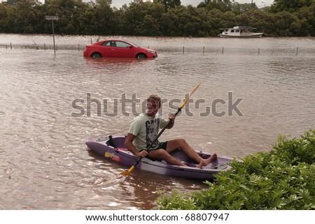 BRISBANE, AUSTRALIA - JAN 12 : Flood  Brisbane  Queensland declared natural disater January 12, 2011 in Brisbane, Australia - stock photo