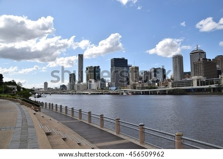 Brisbane, Australia - March 22nd, 2016 : A comfortable stroll along the river in South Bank.