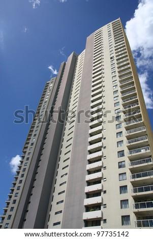 BRISBANE, AUSTRALIA - MARCH 20: River Place apartment building on March 20, 2008 in Brisbane, Australia. The 126m tall building is among tallest apartment buildings in Brisbane (2012). - stock photo