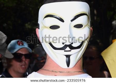 BRISBANE, AUSTRALIA - NOVEMBER 15: Anonymous protestor at g20 rally on November 15, 2014 in Brisbane, Australia - stock photo