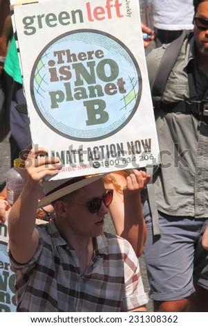 BRISBANE, AUSTRALIA - NOVEMBER 15: Briscan20 anti government unidentifed environmental protestor on November 15, 2014 in Brisbane, Australia - stock photo