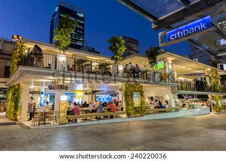 BRISBANE, AUSTRALIA - NOVEMBER 13 2014:  Newly re-developed Jimmy's on the Mall on Queen Street Mall.
