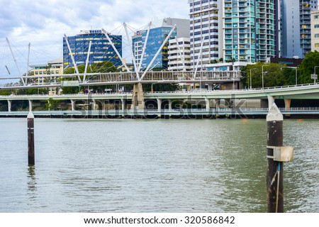 Brisbane, Australia - 23rd June, 2015: View of Kurilpa Bridge and Brisbane City in the daytime from Southbank on 23rd June 2015.