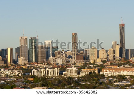 BRISBANE, AUSTRALIA -SEPTEMBER 30: Early morning view of Brisbane, Australia, CBD from Morningside on September 30, 2011. Brisbane is the Capital and largest city of Queensland and third largest city in Australia.