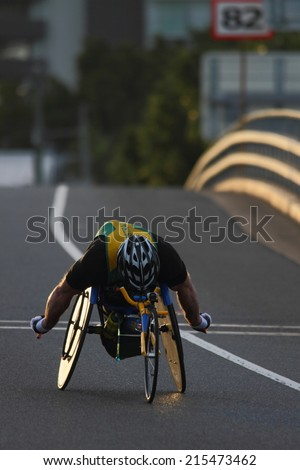 "BRISBANE, AUSTRALIA - SEPTEMBER 07 : Richard Nicholson  participating in the ""Bridge to Brisbane"" charity fun run on September 07, 2014 in Brisbane, Australia - stock photo"