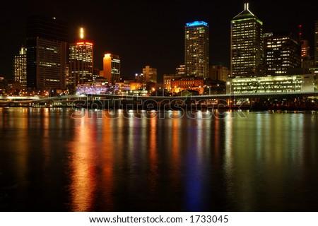 Brisbane City After Dark - stock photo