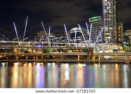 Brisbane city center by the river at night  Australia - stock photo