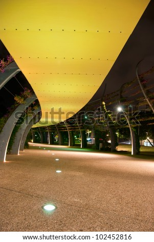 Brisbane City - Southbank footpath at night - Queensland - Australia - stock photo