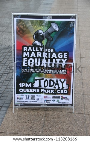 BRISBANE, QLD AUSTRALIA - AUGUST 11 : Sign advertising gay marriage rally on August 11 2012  in Brisbane, Australia - stock photo