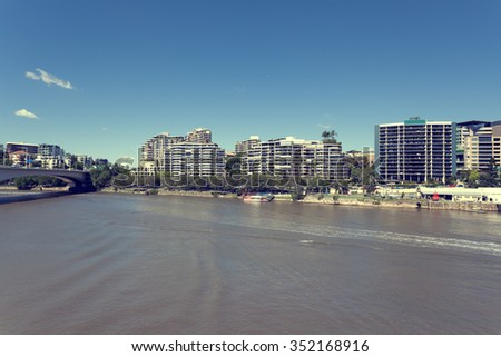 Brisbane River and city - stock photo