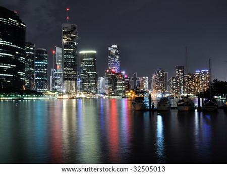 Brisbane River at night - stock photo