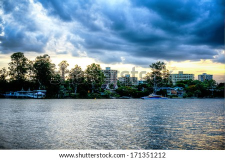 Brisbane River near West End - stock photo