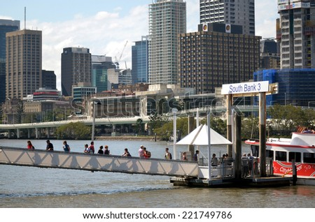 BRISBANE - SEP 25 2014:Ferry brings visitors to South Bank Parklands.It's Brisbane's most important cultural center host festivals and events.Approximately 11,000,000 people visit Parklands a year.