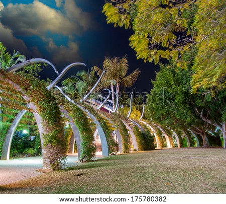 Brisbane. Southbank Arbour boardwalk at night. - stock photo