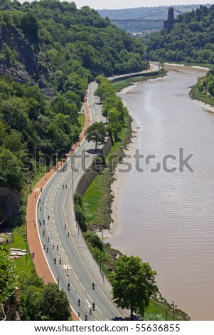 BRISTOL, ENGLAND - JUNE 20: Motors  were banned from the Avon Gorge in Bristol, England on June 20, 2010. Only cyclists had access as part of National Bike Week. Bristol is the first UK Cycling City - stock photo