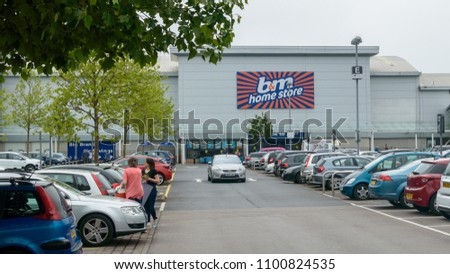 Bristol, England - May 28, 2018: B&M Home Store - view from car park, Bristol Imperial Park, modern architecture shallow depth of field