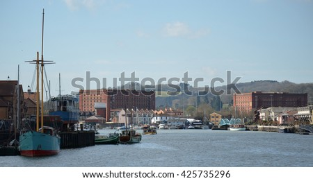 Bristol Harbour in England - stock photo
