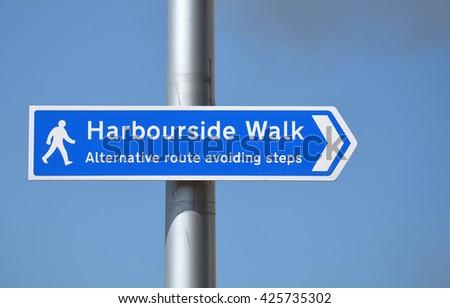 Bristol Harbourside Walk Sign - stock photo