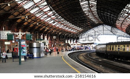 BRISTOL - JUL 17: View of a platform at Temple Meads train station on Jul 17, 2010 in Bristol, UK. Temple Meads is the main railway station of Bristol with direct connections to London and Birmingham. - stock photo
