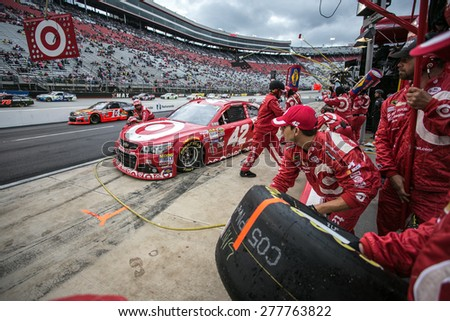 Bristol, TN - Apr 19, 2015:  Kyle Larson (42) brings his car in for service during the Food City 500 at Bristol Motor Speedway in Bristol, TN. - stock photo