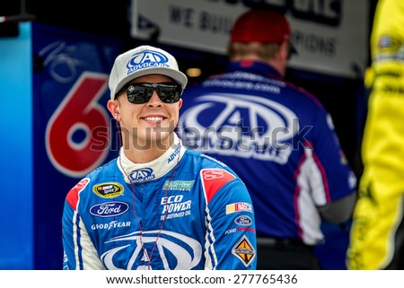 Bristol, TN - Apr 17, 2015:  Trevor Bayne (6) talks to his crew during a practice session for the Food City 500 at Bristol Motor Speedway in Bristol, TN. - stock photo