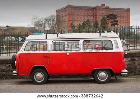 Bristol,UK-February 26,2016: old Volkswagen van parked in Bristol on february 26 ,2016 - stock photo