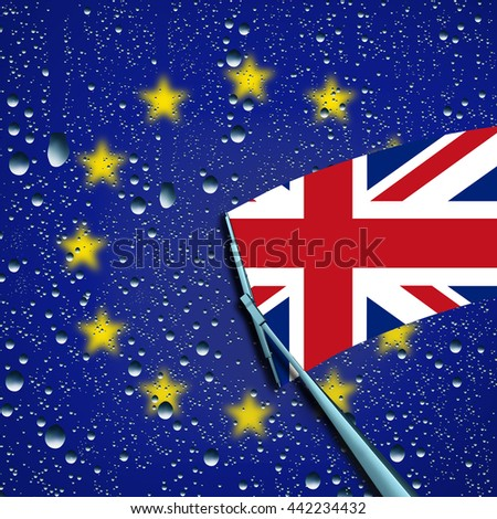 Britain leave or leaving European Union concept or decision as a brexit and UK independence vote or Euro zone crisis as a wiper washing away the Europe flag for the british flag as a 3D illustration. - stock photo