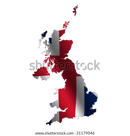 Britain map with rippled flag on white illustration