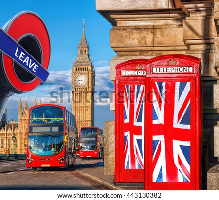 Britain votes to LEAVE European Union, phone booths with flags against Big Ben in London, England, UK - stock photo
