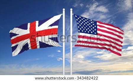 British and American flags against of blue sky