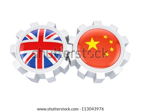British and chinese flags on a gears.Isolated on white background.3d rendered. - stock photo
