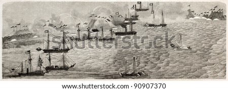 British and French fleets attacking Chinese forces in the Hai river (formerly Pei-Ho). After Chinese painting, published on L'Illustration, Journal Universel, Paris, 1858 - stock photo