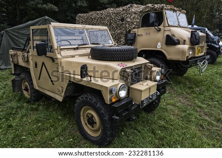 British Army Land Rover - 1983 Series III Lightweight at Quex Park in Kent - September 2014 - Editorial Image - stock photo
