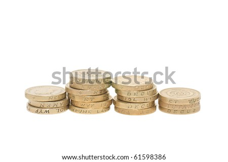 British coins arranged in stack - stock photo
