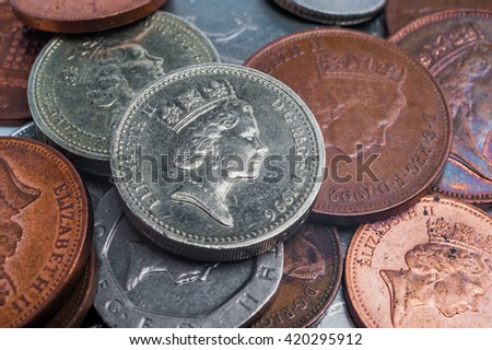 British coins close-up. Finance concept - stock photo