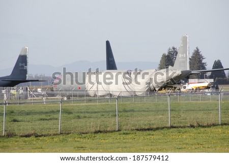 BRITISH COLUMBIA, CANADA Â?Â? APRIL 10, 2014: A decommissioned Government of Canada Hercules aircraft used for various activities including troop deployment.  - stock photo